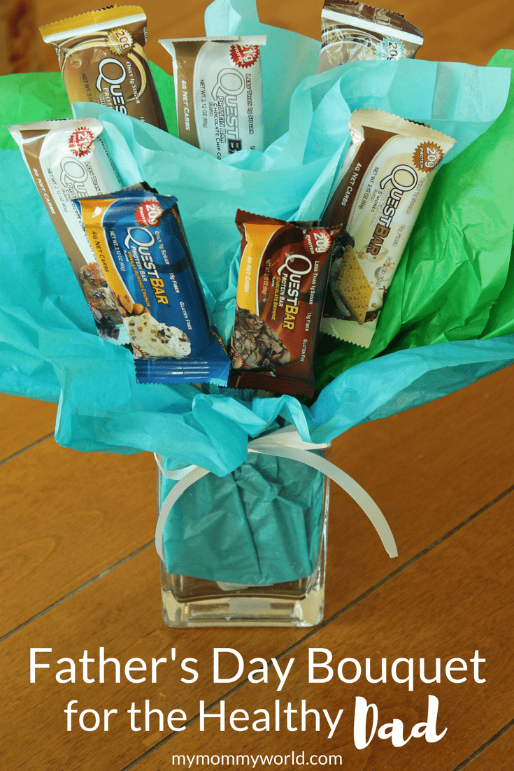 Run out of fathers day gift ideas? Try making this fathers day bouquet with healthier protein bars for your dad this year! It will be one of the best fathers day gifts he's ever received!