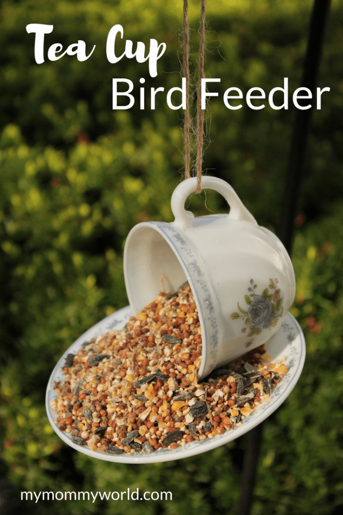 bird feeder made from an old tea cup.