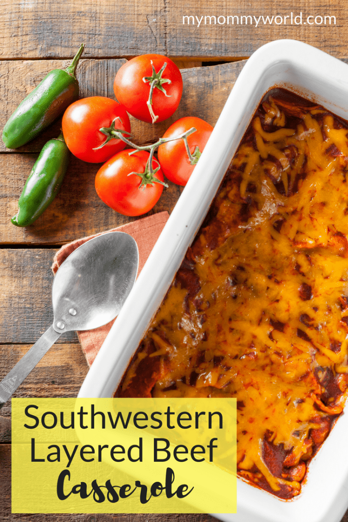Every busy mom has to have a few easy casserole recipes in her arsenal. This Southwestern Layered Beef Casserole is one of those easy casserole recipes for dinner that not only tastes great, but leaves few dishes to wash in the making of it. Pin this recipe to your dinner ideas board and your family will thank you!
