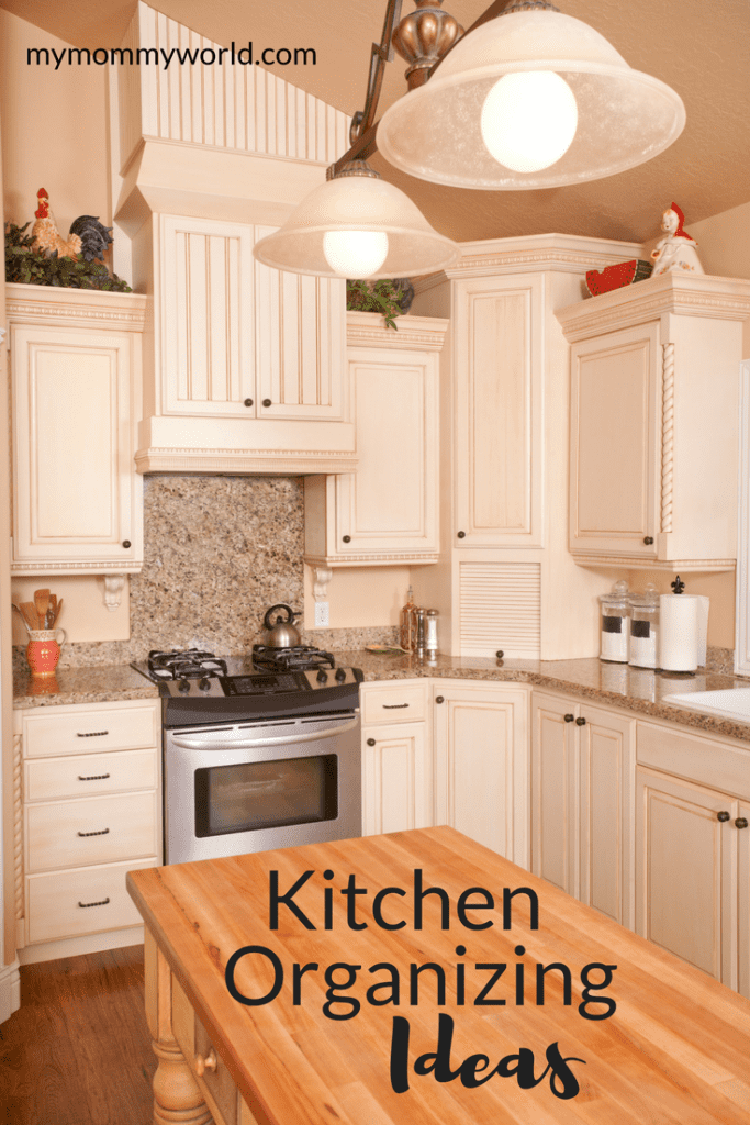 organized kitchen counters and cabinets