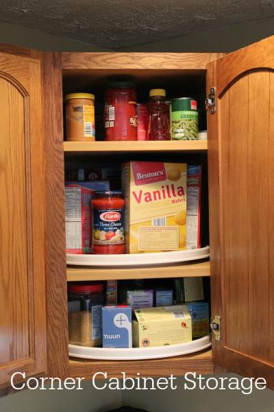 inside of kitchen corner cabinet