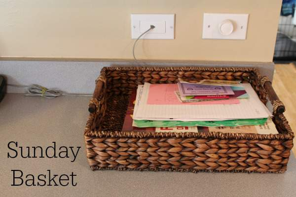 wicker basket on kitchen counter with papers inside