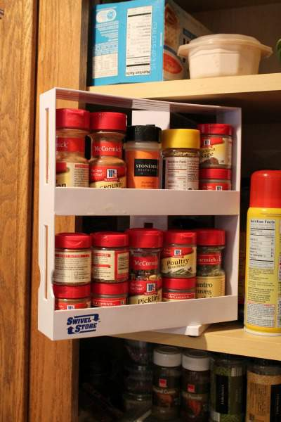 Pantry organization can be a snap with these handy pantry organizing tools! You'll be able to maximize your pantry storage space for spices and baking staples as well as fix the problem of lost space in your corner cabinets with these kitchen pantry tools.