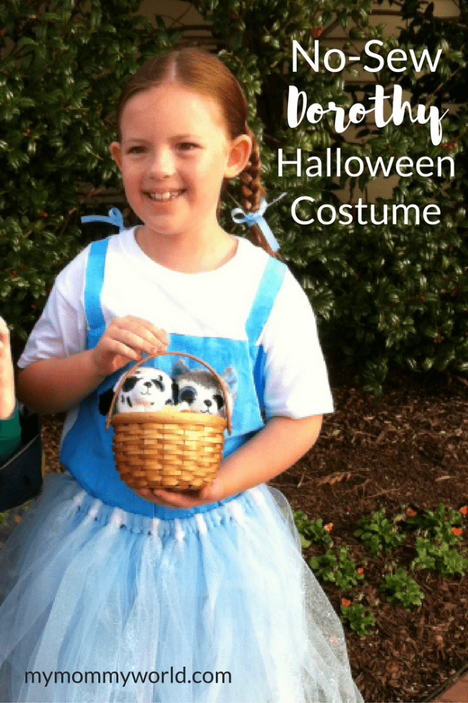 This easy DIY Dorothy costume is perfect for fans of the Wizard of Oz! The no-sew Halloween costume comes together in no time and is super fun for kids to make.