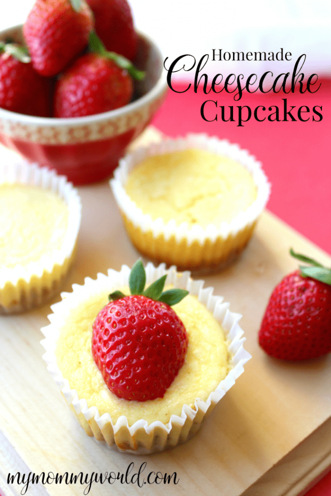 This easy recipe for Homemade Cheesecake Cupcakes makes a really good dessert. Top them with strawberry, raspberry or blueberry topping, or just leave them plain for a sweet treat that the whole family will enjoy!