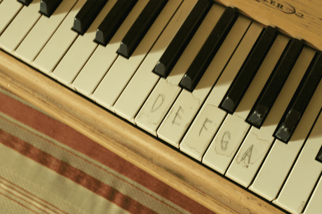 piano keys covered in plastic tape