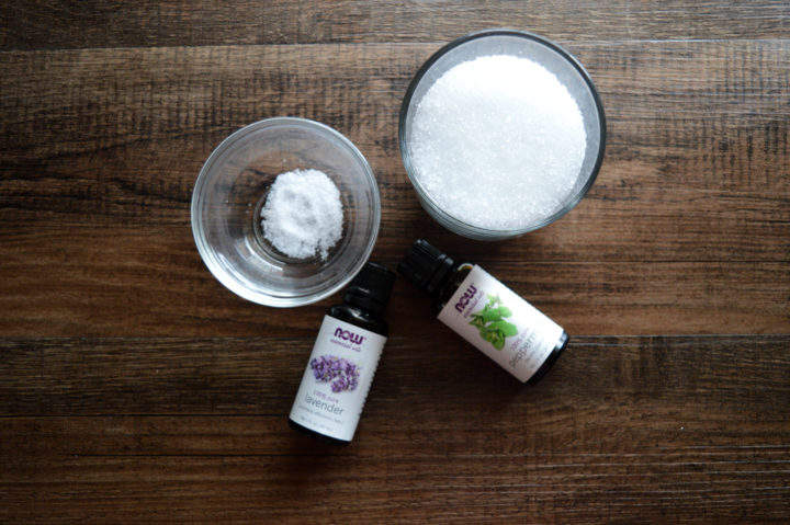 This DIY recipe for a relaxing peppermint lavender foot soak is just the thing for soothing your sore feet. With epsom salt, peppermint and lavender oil, this handmade mixture will help soothe and cool your feet after a long day. Also makes a great gift too!