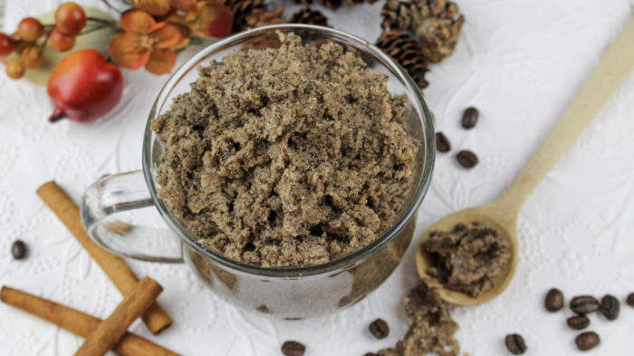 cinnamon coffee sugar scrub in a jar