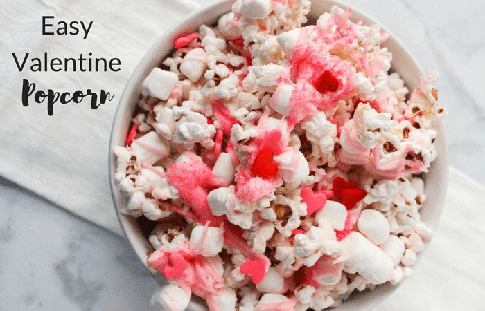 bowl of valentine's popcorn