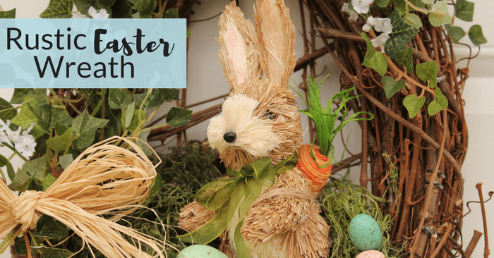 This Rustic Easter Wreath is not only an easy Easter wreath to make, but it's also so pretty and festive. It comes together in just minutes with a few supplies. You'll never look for any more Easter wreaths for the front door after making this!