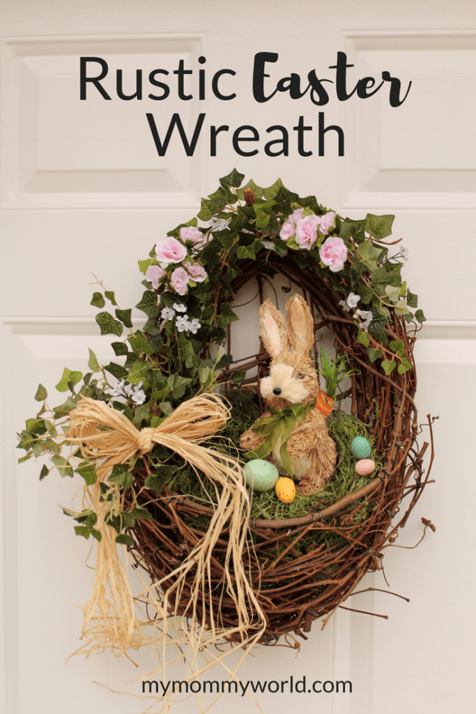 rustic easter wreath hanging on a front door