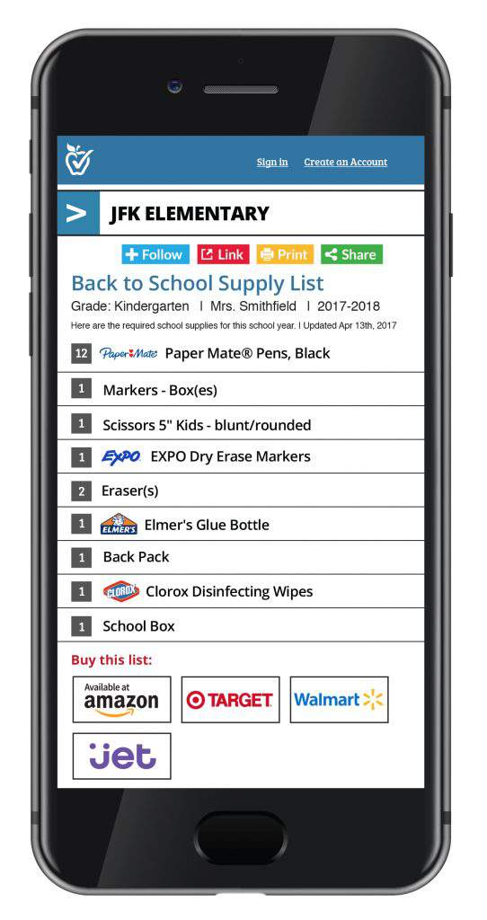 a smart phone showing back to school supplies shopping list