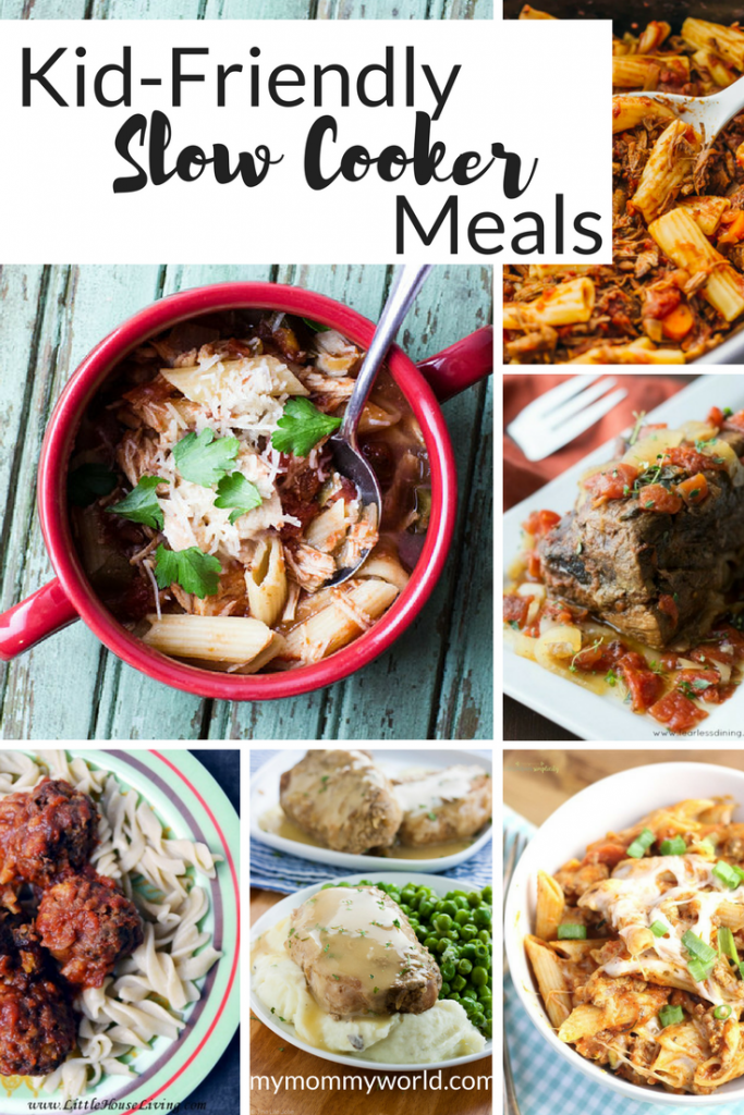 collage of kid-friendly slow cooker meals