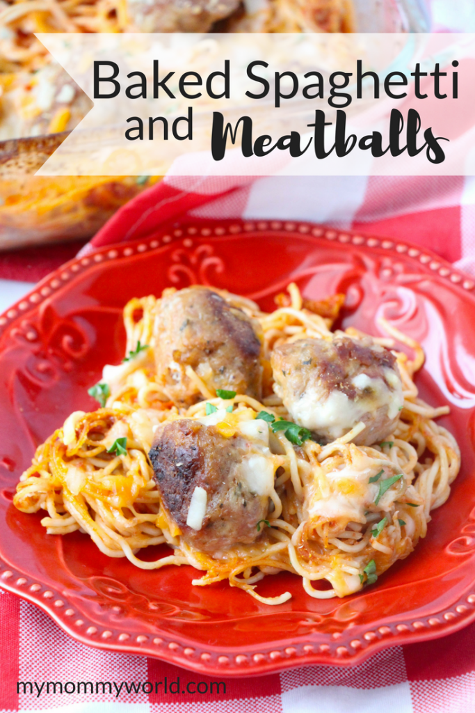 Baking dish of baked spaghetti and meatballs.
