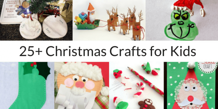 collage of 7 photos of kids' Christmas crafts