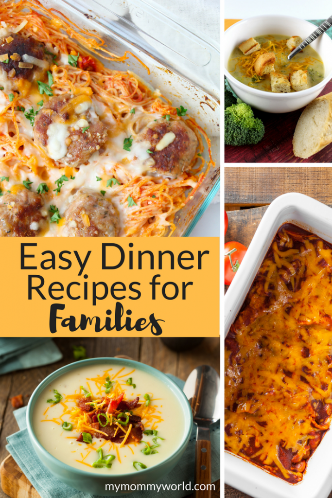 Collage of photos of easy dinner recipes.