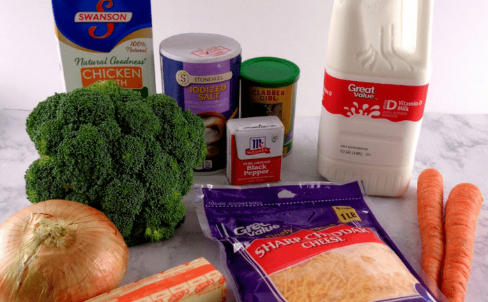 ingredients for broccoli and cheddar soup: broccoli, onion, carrots, chicken broth, milk, salt, pepper and cheddar cheese.