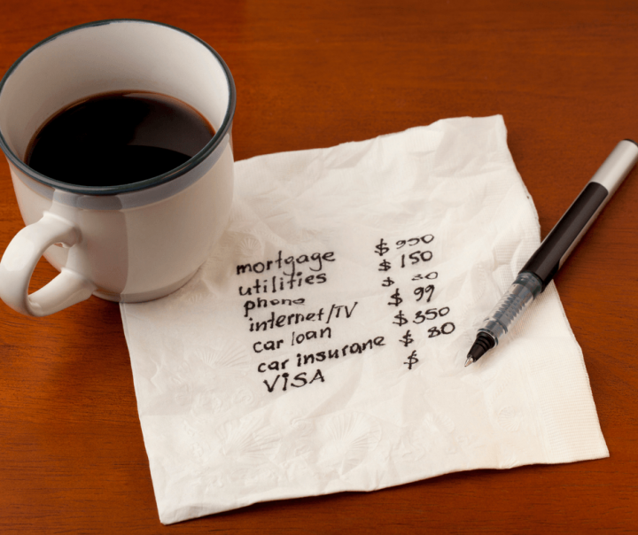 Budget figures written on a napkin