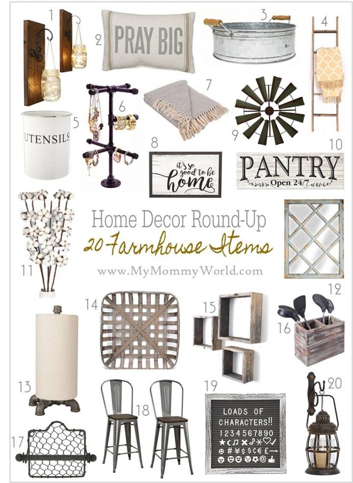 collage of farmhouse decor items
