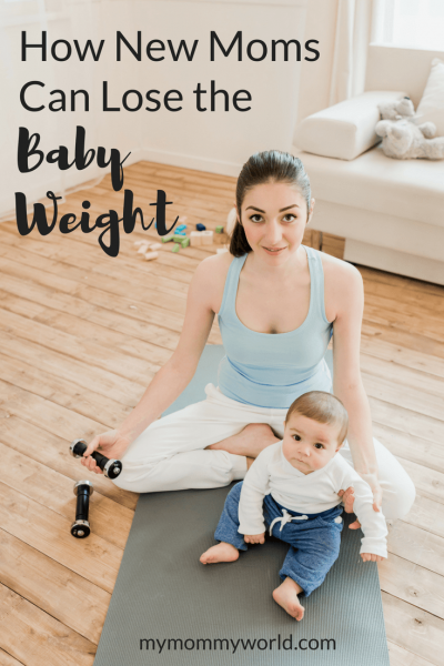 young mom sitting with baby while exercising with hand weights