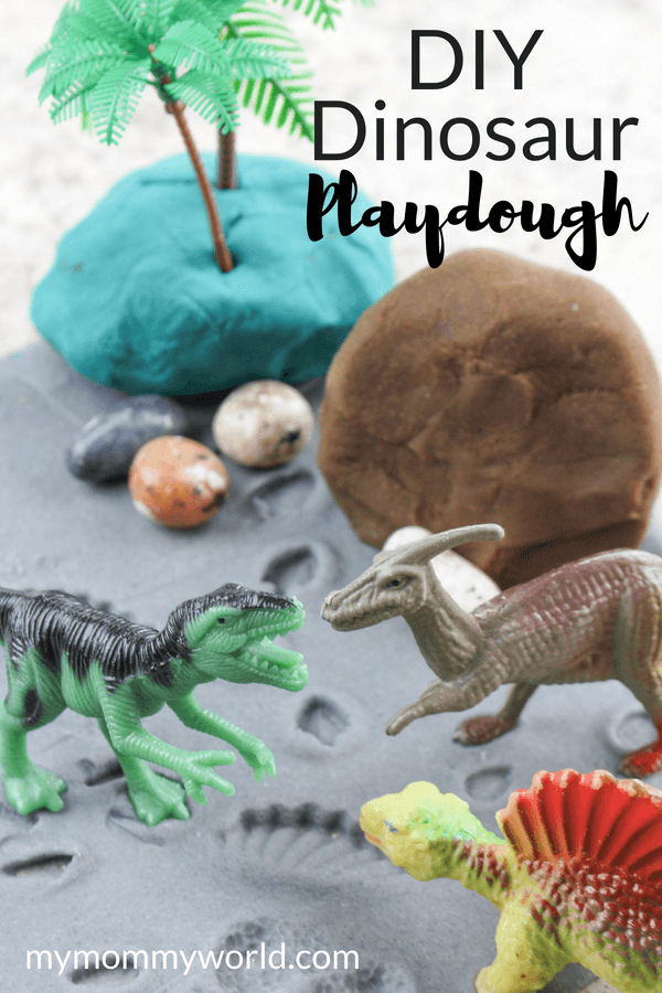 homemade play dough with dinosaur toys
