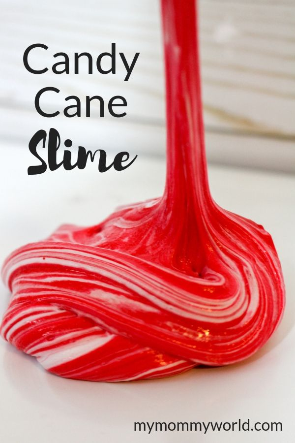 red and white striped slime for kids to play with