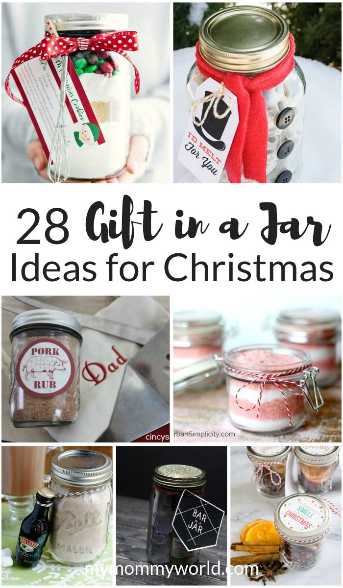collage of gift in a jar ideas for christmas