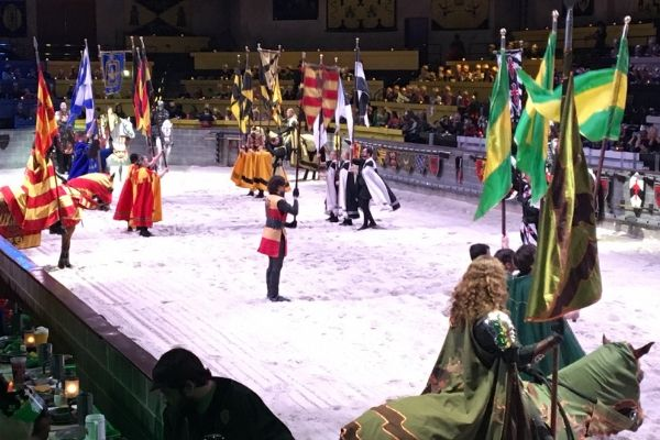 the knights flags being presented in the arena at medieval times