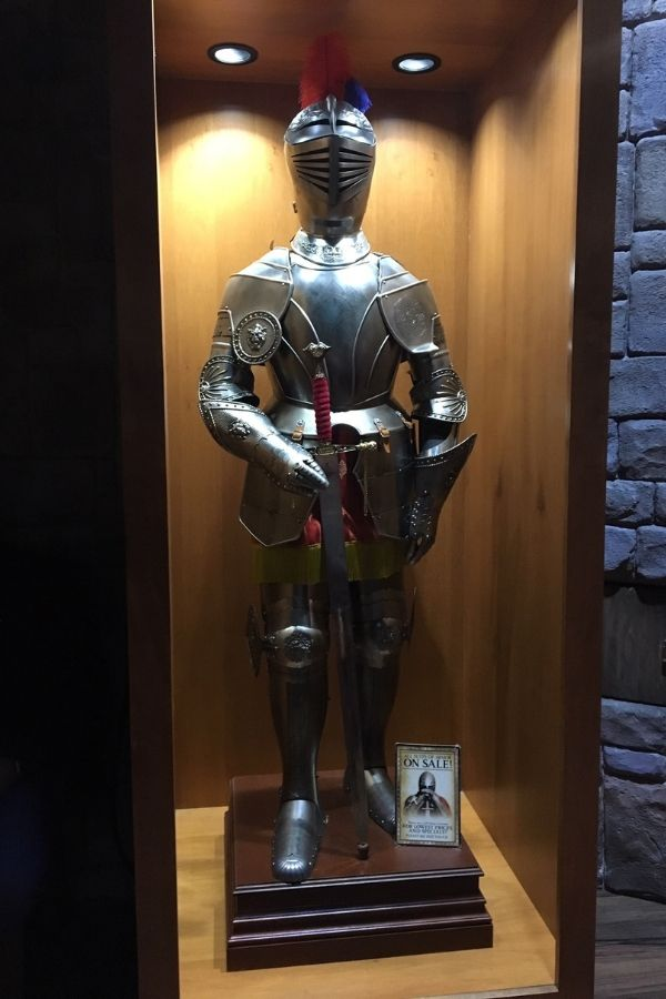 display of medieval era knights armor at medieval times castle